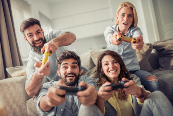 You can play with friends or other people online